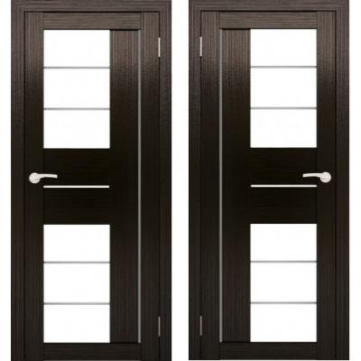 Дверное полотно АМАТИ-22 венге экошпон ПО-600 белое стекло