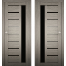 Дверное полотно АМАТИ-04 дуб дымчатый экошпон ПО-900 черное стекло