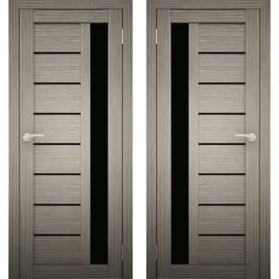 Дверное полотно АМАТИ-04 дуб дымчатый экошпон ПО-800 черное стекло