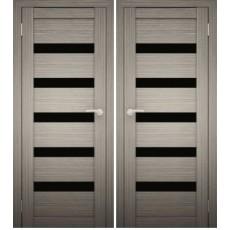 Дверное полотно АМАТИ-03 дуб дымчатый экошпон ПО-800 черное стекло