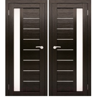 Дверное полотно АМАТИ-04 венге экошпон ПО-900 белое стекло