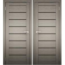 Дверное полотно АМАТИ-01 дуб дымчатый экошпон ПО-900 черное стекло