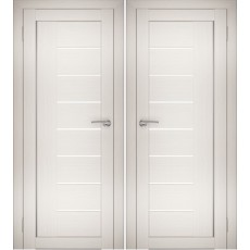 Дверное полотно АМАТИ-07 эшвайт экошпон ПО-900 белое стекло