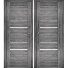 Дверное полотно АМАТИ-01 дуб шале-графит экошпон ПО-700 белое стекло