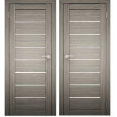 Дверное полотно АМАТИ-01 (Дуб дымчатый) экошпон ПО-900 белое стекло