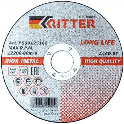 Круг отрезной Ritter LongLife HQ 150х1,6х22,2 мм (металл + нерж.) A46R-BF-T41