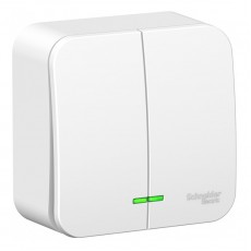 Выключатель с подсветкой двухклавишный Schneider Electric Blanca BLNVA105111  (белый)