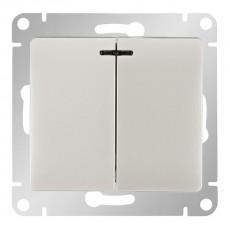 Выключатель двухклавишный Schneider Electric Glossa GSL000153 (с подсветкой, белый)