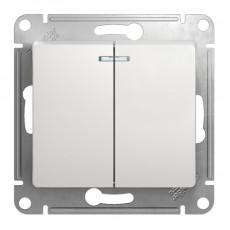 Механизм выключателя 2-клавишный СП GLOSSA сх.5а 10А IP20 10AX с подсветкой перламутровый SchE GSL000653