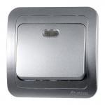Выключатель 1 СП Макел серый металлик с подсветкой