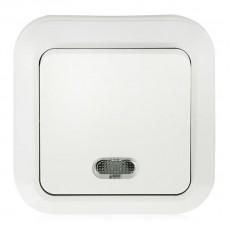 """Выключатель одноклавишный открытой установки с подсветкой IP20 10А, белый """"Ладога"""" TDM"""
