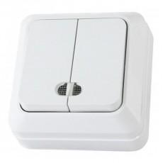 """Выключатель двухклавишный открытой установки с подсветкой IP20 10А, белый """"Ладога"""" TDM"""