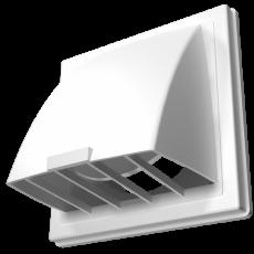 Выход стенной вытяжной с обратным клапаном 150х150 с фланцем D100 белый, 1515К10ФВ