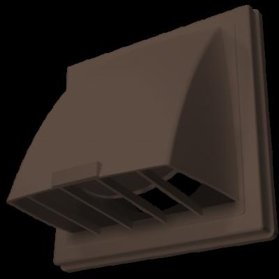 Выход стенной вытяжной с обратным клапаном 150х150 с фланцем D100 коричневый, 1515К10ФВ