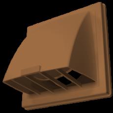 Выход стенной вытяжной с обратным клапаном 150х150 с фланцем D100 терракотовый, 1515К10ФВ