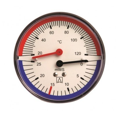 """Термо-манометр аксиальный до 6 бар.корпус: металл.от 0℃ до 120℃, присоединение: 1/4"""" наружная"""