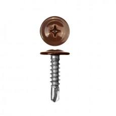 Саморез 4,2х19 (RAL8017) коричневый шоколад, полусфера-прессшайба, сверло (30шт)