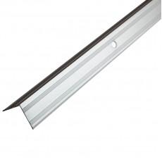 Порог-угол Д5 20х20мм алюминиевый  анодированный, серебро длина 0,9м