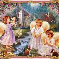 Декоративное панно Ангелы 134х196 (2 листа)