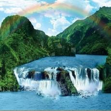 Декоративное панно Горные водопады 294х201 (9 листов)