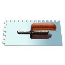 Кельма зубчатая из нержавеющей стали 270*130мм (деревянная ручка, зуб 4*4мм) 1401004
