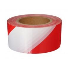 Лента для ограждения  50ммх200 м красно-белая