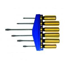 Отвертки  6 шт. CrV. желтая ручка, крест-шлиц 75, 100,150 мм RUS 56006