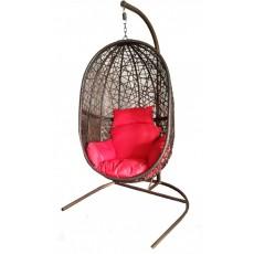 """Подвесное кресло """"Кокон"""" XL (стойка темно-коричневая, корзина темно-коричневая, подушка красная/беж"""