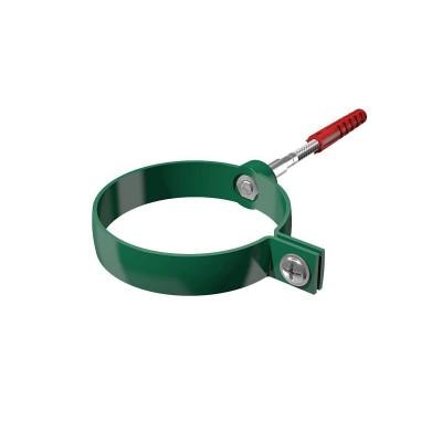 Хомут трубы водосточной универсальный удлиненный ТехноНИКОЛЬ L=140мм ПВХ, зеленый