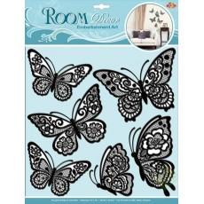 Стикер 1401 Мерцающие бабочки черные СВА