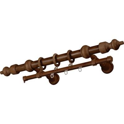 Карниз Д28 метало-деревянный с рельсой 2,4м дуб рустик