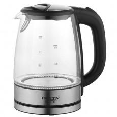Чайник DELTA LUX DL-1204W корпус из жаропрочного стекла, черный: 2200 Вт, 1,7 л