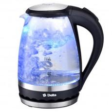 Чайник DELTA DL-1202, корпус из жаропрочного стекла, черный: 2200 Вт, 1,5 л